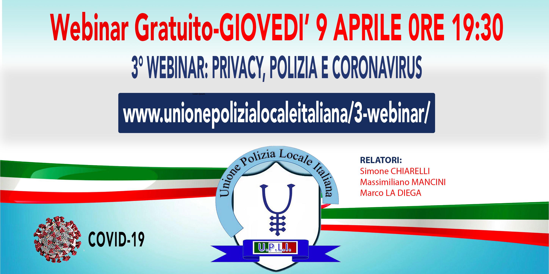 3° WEBINAR UPLI: PRIVACY, POLIZIA E CORONAVIRUS