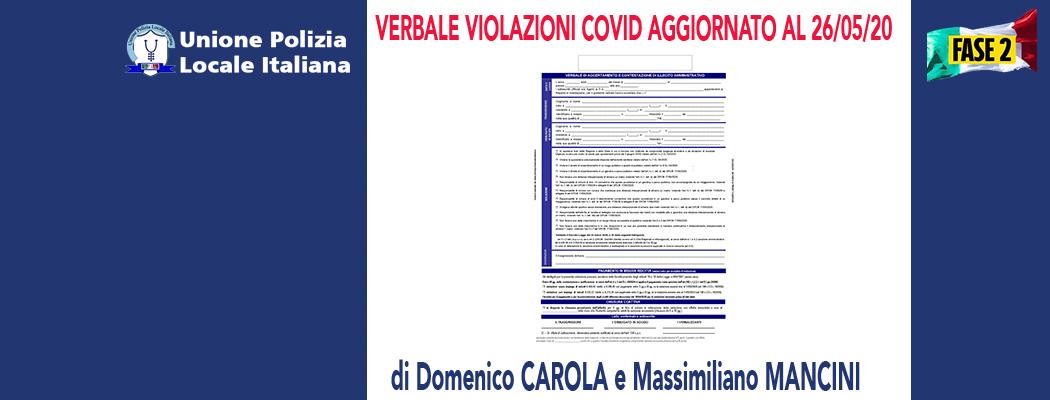 MODELLO VIOLAZIONI COVID AGGIORNATO AL 26/05/2020 new (modulo personalizzabile) di D.Carola e M.Mancini