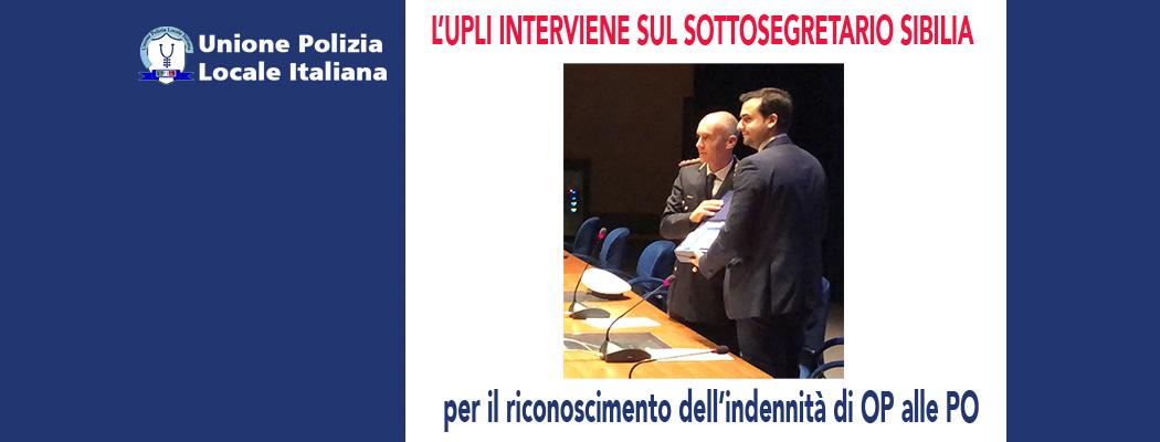 INTERVENTO UPLI AL'ON.SIBILIA PER INDENNITA' OP AI FUNZIONARI PL