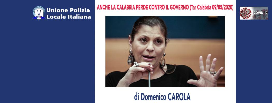 ANCHE LA REGIONE CALABRIA PERDE CONTRO IL GOVERNO (TAR Calabria 17/04/20) di D.Carola e M.Mancini