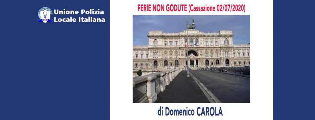 FERIE NON GODUTE (Cassazione 02/07/2020) di D.Carola