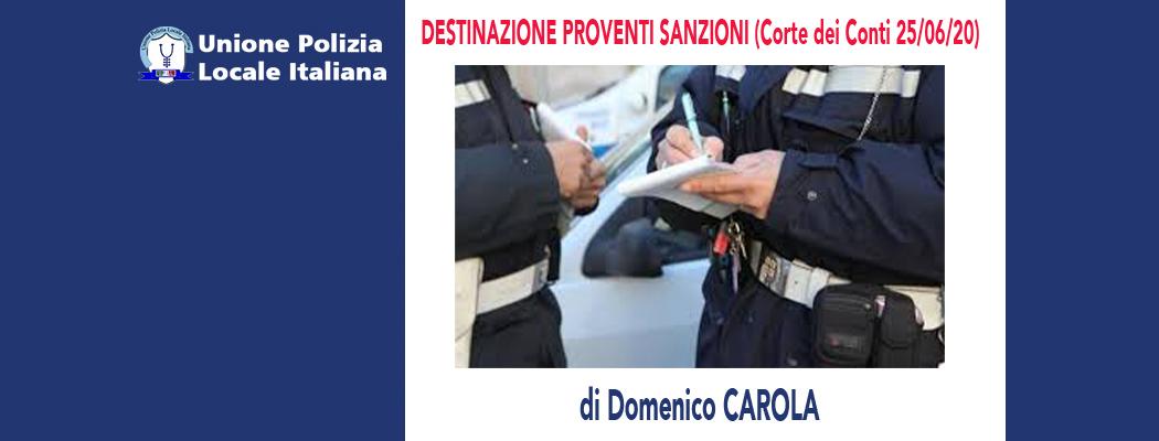 DESTINAZIONE PROVENTI SANZIONI (Corte dei Conti 25/06/2020) di D.Carola