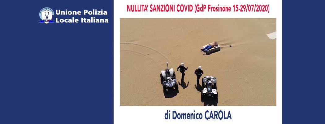 NULLITÀ SANZIONI COVID (GdP Frosinone 15-29/07/2020) di D.Carola