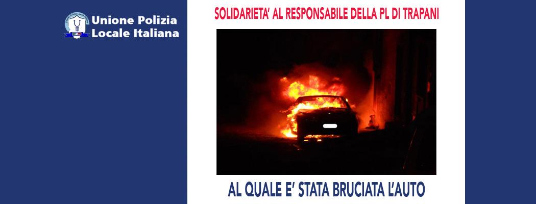 BRUCIATA L'AUTO AL RESPONSABILE DELLA POLIZIA LOCALE DI TRAPANI