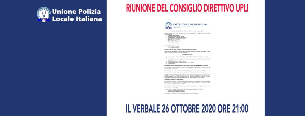 DELIBERAZIONI DEL CONSIGLIO DIRETTIVO DEL 26 OTTOBRE 2020