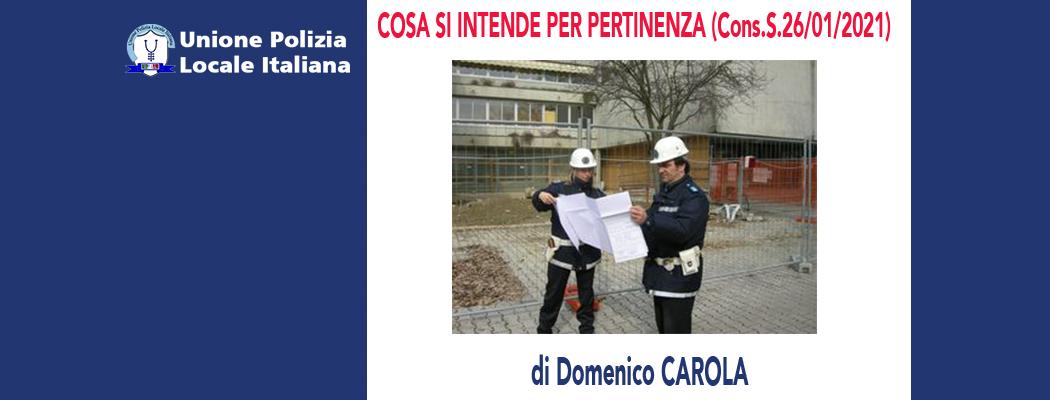 COSA SI INTENDE PER PERTINENZA (Cons.Stato 26/01/2021) di D.Carola