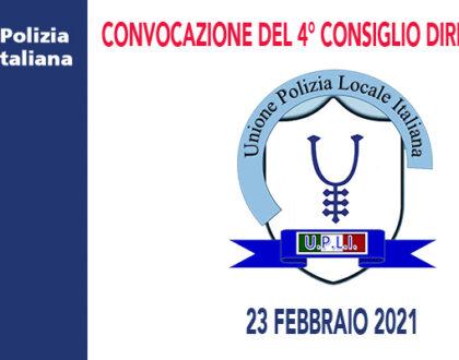 CONVOCAZIONE E ORDINE DEL GIORNO 4° CONSIGLIO DIRETTIVO DEL 2021